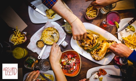 AmericanInspired TwoCourse Meal with Cocktail for Up to Four at Absurd Bird, Nationwide