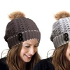 Jade & Juliet Women's Button Beanie with Pom-Pom
