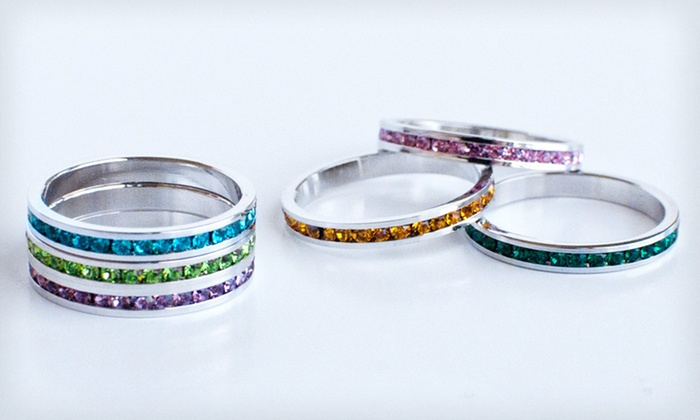 Stackable Birthstone Rings with Swarovski Elements: $10 for a Stackable Birthstone Ring with Crystals ($49.95 List Price). 48 Options Available. Free Returns.