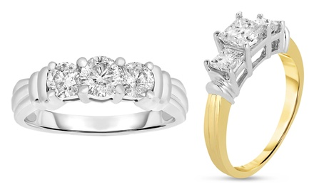 1.00 CTTW 3-Stone Certified Diamond Ring in 14-Karat Gold. Multiple Styles Available.