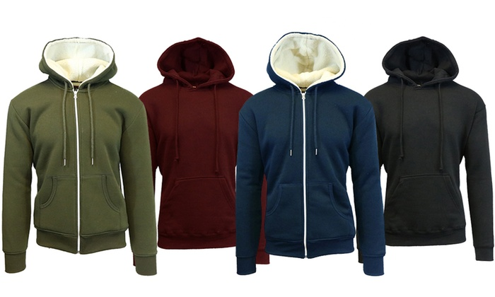 Men's Sherpa-Lined Zip-Up and Fleece-Lined Pullover Hoodies (2-Pack)