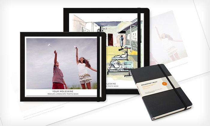 Moleskine Custom Photo Books and Notebooks: Hardcover Photo Book with Notebook from Moleskine (Up to 65% Off). Four Options Available. Free Shipping.