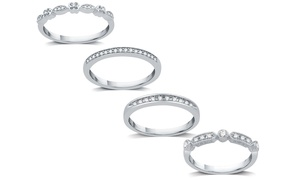 Mix and Match Diamond Stackable Rings In Sterling Silver By DeCarat