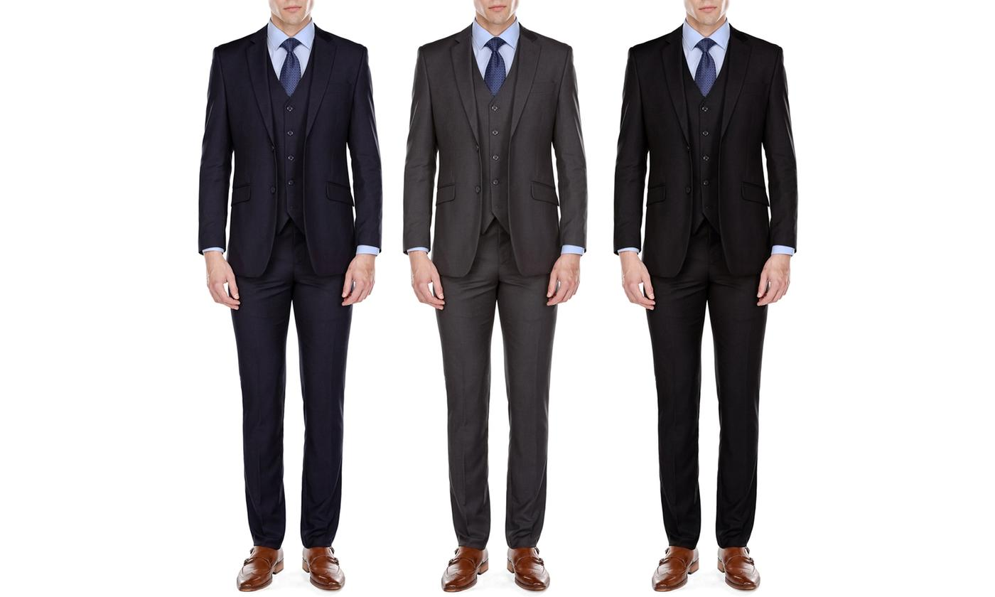3-Piece MDRN Uomo by Braveman Men's Slim-Fit Suit