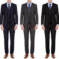Groupon.com deals on MDRN Uomo by Braveman Men's Slim-Fit 3-Piece Suit