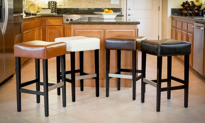 Bonded Leather Backless Stools Groupon Goods