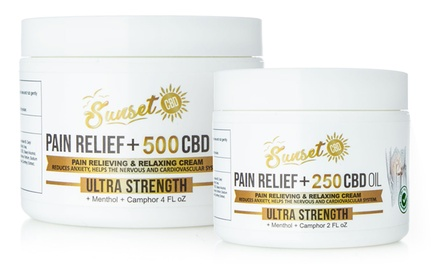 Pain Relief Cream with Organic CBD and Menthol from Sunset CBD (250mg or 500mg)
