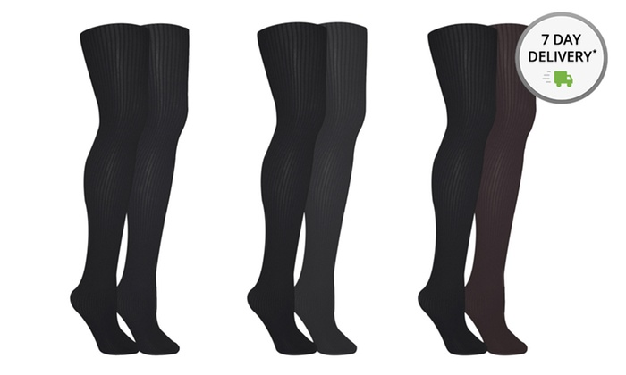 Muk Luks Ribbed or Herringbone Tights 2-Pack: Muk Luks Ribbed or Herringbone Tights 2-Packs. Multiple Options Available.