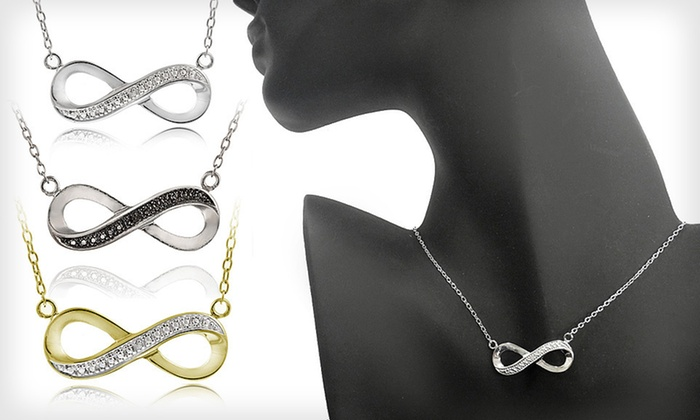 Diamond-Accent Infinity Jewelry: Diamond-Accent Infinity Necklaces or Earrings (Up to 80% Off). Six Options Available. Free Shipping and Free Returns.