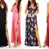 Women's Open-Back Maxi Dress with Front Slit