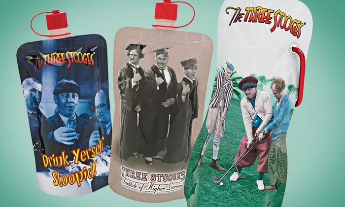 SharkSkinzz Three Stooges Water Pouches: SharkSkinzz Three Stooges Water Pouches; 6-Pack of 7.5 Fl. Oz. Containers or a 3-Pack of 16 Fl. Oz. Containers