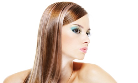 Haircut with Straightening Treatment, Conditioning, Partial Highlights, or Color at SwaggerHaircut (Up to 72% Off)