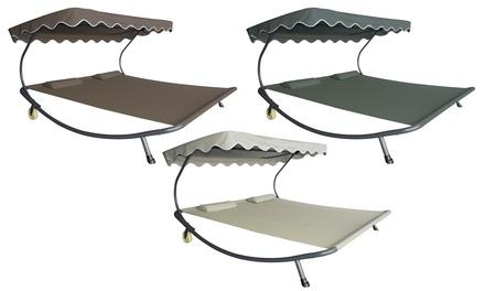 Lettino doppio da 200 x 175 cm con parasole, disponibile in 3 colori