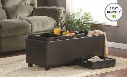 Simpli Home Large Storage Ottoman with 3 Serving Trays