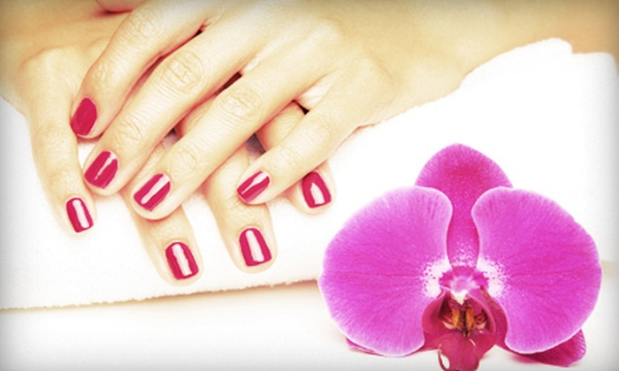 Society Salon - Downtown Reno: Gel Polish with a Paraffin Dip or Glitter Gel Toes and Mini Manicure at Society Salon (53% Off)