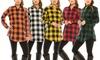 Game Day Football Women's Buffalo Plaid Button-Down Shirt (S–3X)