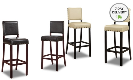 Set of 2 Baxton Studio Walter Modern Barstools with Nail-Head Trim in Cream or Dark Brown. Free Returns.