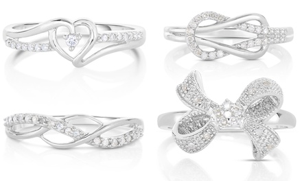1/10 CTTW Diamond Heart, Bow, and Promise Rings in Sterling Silver from $59.99–$79.99
