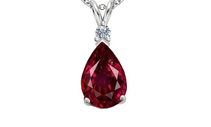 30 cttw genuine diamond ruby pear drop pendant groupon 30 cttw genuine diamond ruby pear drop pendant mozeypictures Gallery