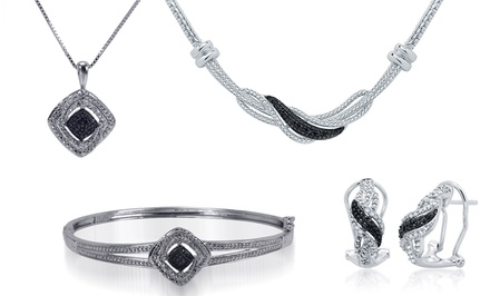 1/4 CTTW Black and White Diamond Jewelry Sets
