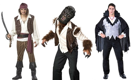 Men's Pirate, Wolfman, or Vampire Halloween Costumes