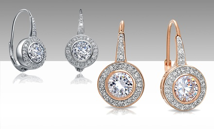 5 CTTW Simulated-Diamond Round Bezel Earrings in Sterling Silver Setting with Platinum or 18-Karat Rose-Gold Finish