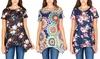 Haute Edition Women's Floral Sharkbite Tunic Top. Plus Sizes Available