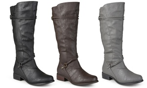 Journee Collection Women's Wide-Calf Knee-Height Riding Boots