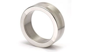 Jewelry Discounters: Stainless-Steel Mirror-Polished Ring with Option for Engraving or Diamond at Jewelry Discounters (Up to 83% Off)