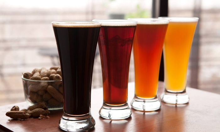 bugnutty brewing company bugnutty brewing company beer tasting with pint glasses and growler for
