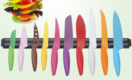 Gela Global 10-Piece Colored Knife Set with Magnetic Knife Bar.
