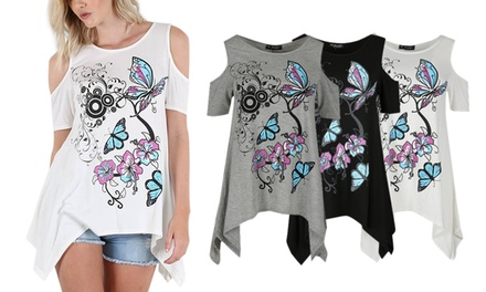 Cold-Shoulder Butterfly Top Available up to Size 26