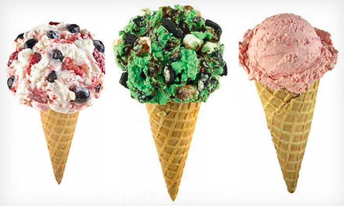Marble Slab Creamery - Strawberry Hill: Two or Four Ice-Cream Cones with Two Mix-Ins or 3 Quarts of Take-Home Ice Cream at Marble Slab Creamery (Up to 54% Off)