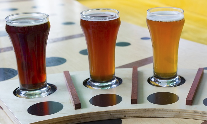 sleepy dog brewery casitas east 34 for beer tasting for two with glasses and