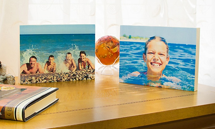 "Woodpix: $5 for a 5"" x 7"" Custom Wooden Photo Block Print from WoodPix ($35 Value)"