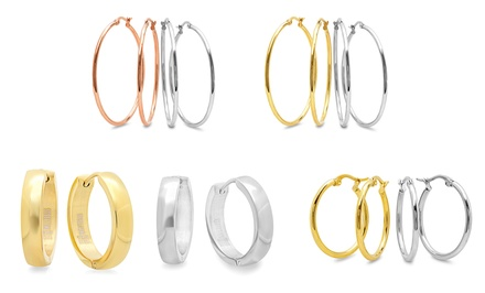 18-Karat Yellow- or Rose-Gold Plated Stainless Steel Hoop Earrings. Multiple Options from $12.99–$13.99.