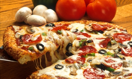 Pizza, Wings, Burgers, and More at Four Brothers Pizza (Up to 44% Off). Two Options Available.