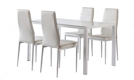 Tavolo e 4 sedie Cribel, disponibili in 2 set e 5 colori