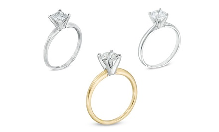 1.00 CTW Certified Diamond Solitaire Ring in 14K White or Yellow Gold