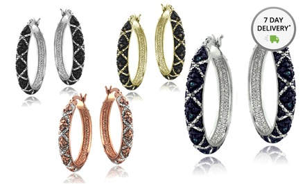 1/4 CTW Colored Diamond Crisscross Hoops. Multiple Styles Available. Free Returns.