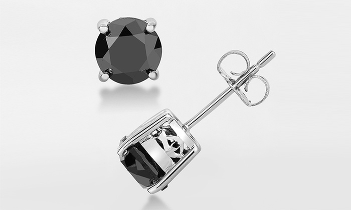 1.50 cttw Black Diamond Stud Earrings Sterling Silver