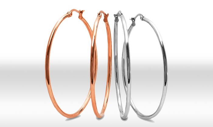 Two Pairs of 18K Gold-Plated Stainless Steel Hoop Earrings: Two Pairs of18K Gold-Plated Stainless Steel Hoop Earrings. Multiple Styles Available. Free Returns.