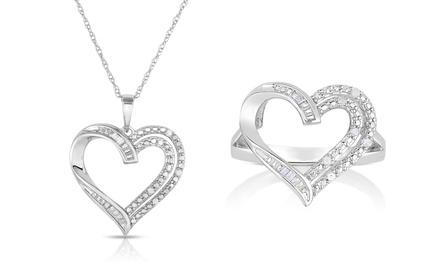 1/10 CTTW Diamond Heart 2-Piece Jewelry Set in Sterling Silver