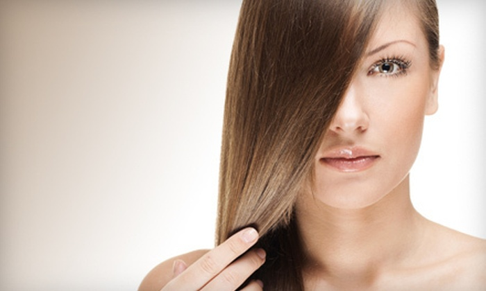 Monaco Salon - Swann Estates: Haircut with KeraTriplex Keratin Treatment, Partial Highlights or Single-Process Color at Monaco Salon (Up to 74% Off)