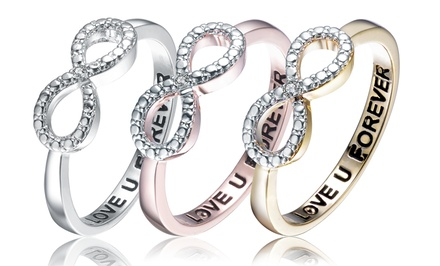 Lab-Created Diamond Infinity Ring in 18-Karat Gold, Rose Gold, or Platinum Plating over Sterling Silver