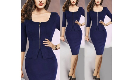 Bodycon Dress with Front Zipper: One $19 or Two $35
