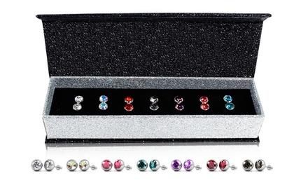 Sets van 7 paar 18karaats witgouden oorbellen versierd met Swarovski®kristallen