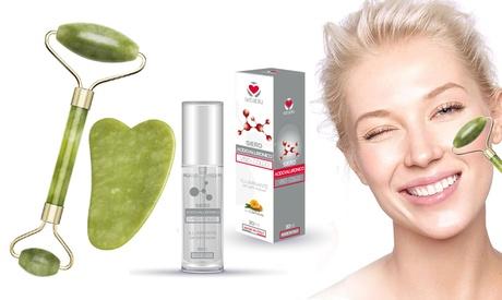 Rodillo de masaje facial con piedra de jade y sérum facial regenerador con ácido hialurónico