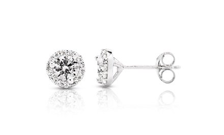 0.70 CTTW Diamond Halo Stud Earrings in 10K White Gold
