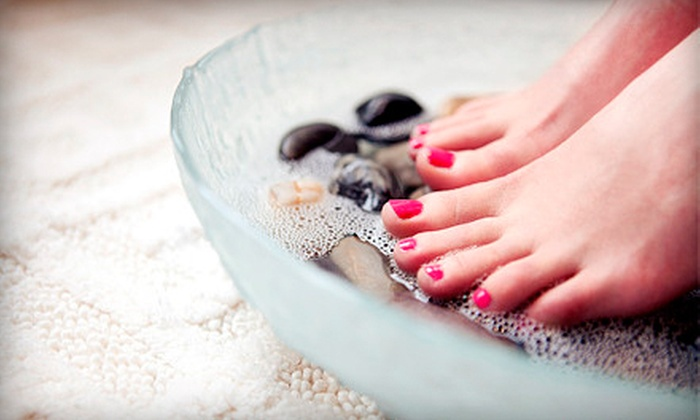 Angela Nails And Spa - Cypress Park: One or Two Hot-Stone Mani-Pedis or One Hot-Stone Pedicure at Angela Nails and Spa (Up to 55% Off)